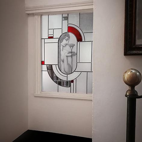 """Vitrail contemporain Art Déco """"La Fleur"""""""