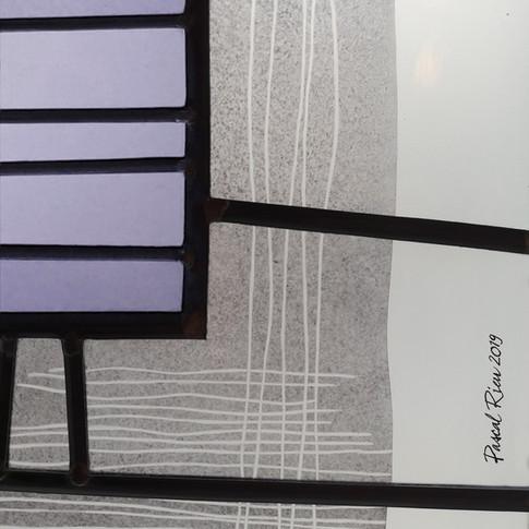 Vitrail contemporain 'Lavande' (détail