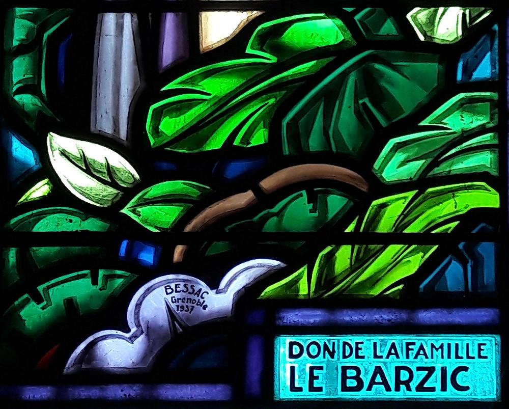 Détail d'un vitrail des ateliers A. Bessac (1937)