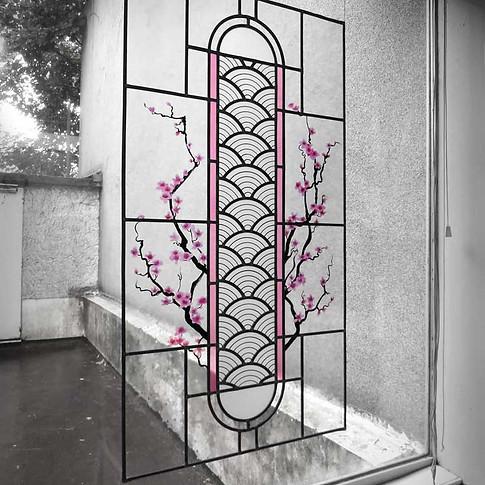Vitrail 'Les Fleurs de Cerisier'