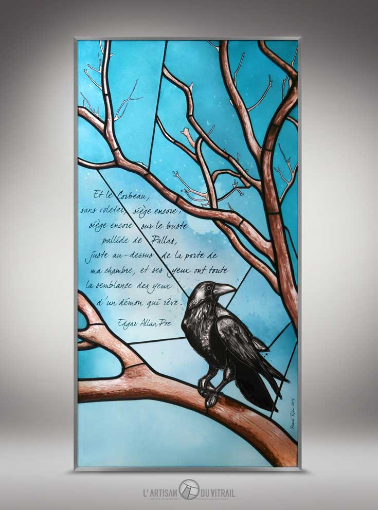 Le Corbeau | Création vitraux | L\'Artisan du Vitrail | Drôme