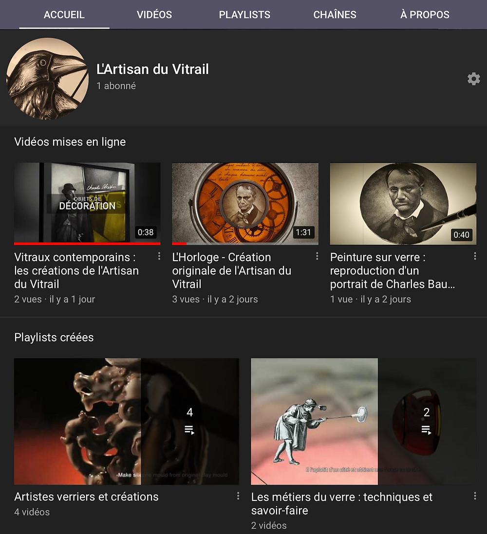 Page d'accueil chaîne Youtube de l'Artisan du Vitrail