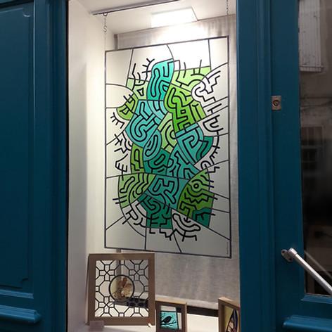 Vitrail contemporain en hommage à Keith Haring