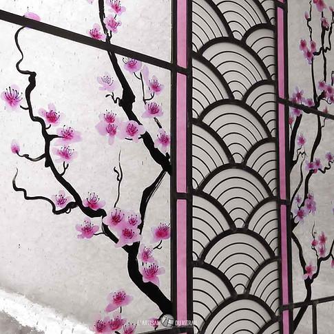Vitrail 'Les Fleurs de Cerisier' (détail)