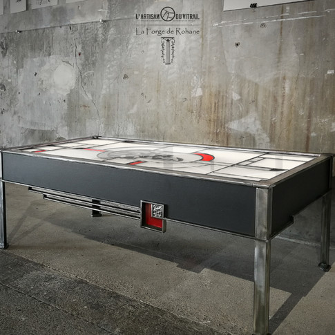 Vitrail table basse Art Déco