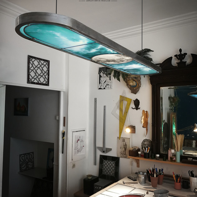Vitrail luminaire en suspension
