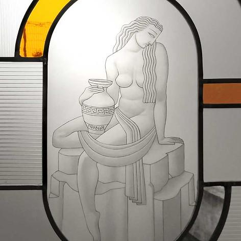 Pandore (détail) - Vitrail Art Déco