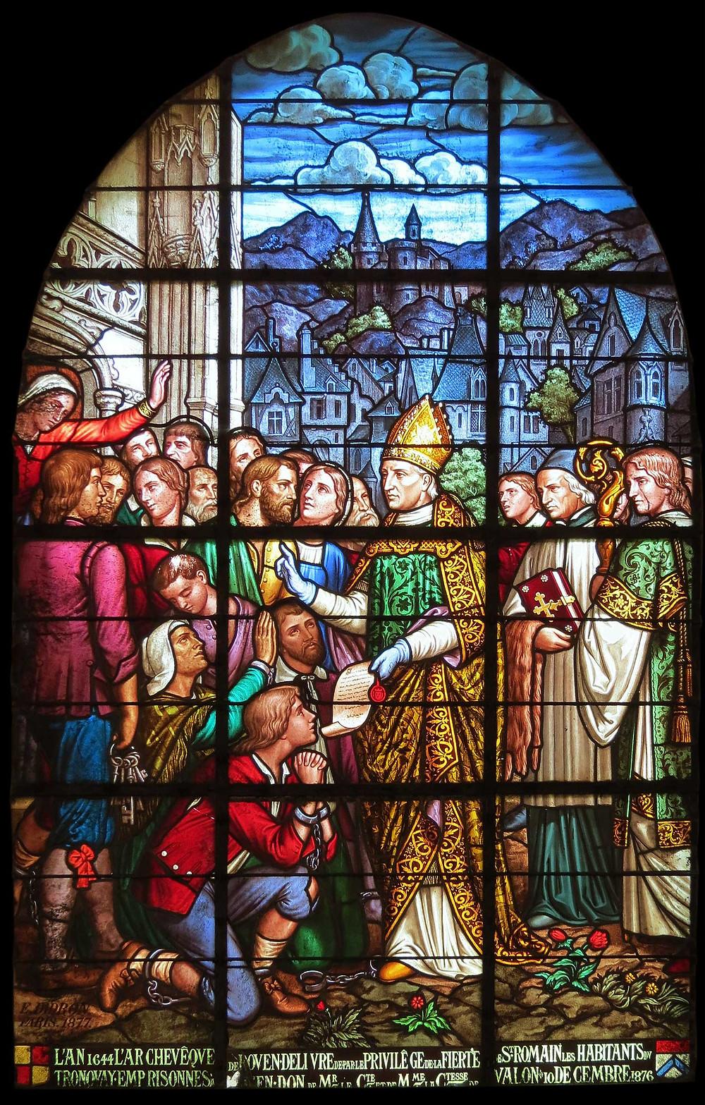 Vitrail représentant l'archevêque de Rouen