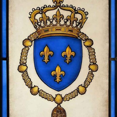 'Les Armes de France' - Vitrail (blason, héraldique), peintures faites mains