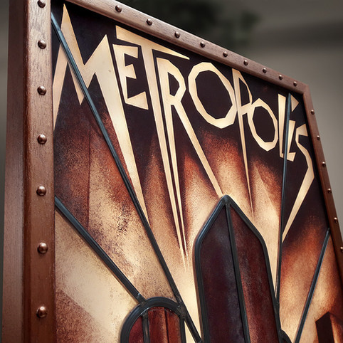 Restauration d'un vitrail Art Deco inspiré du film Metropolis de Fritz Lang