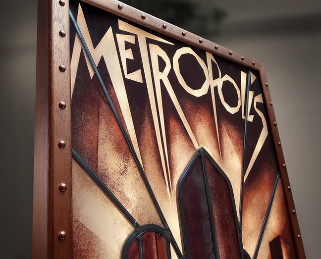 Restauration d'un vitrail Art Deco, inspiré du film Metropolis de Fritz Lang