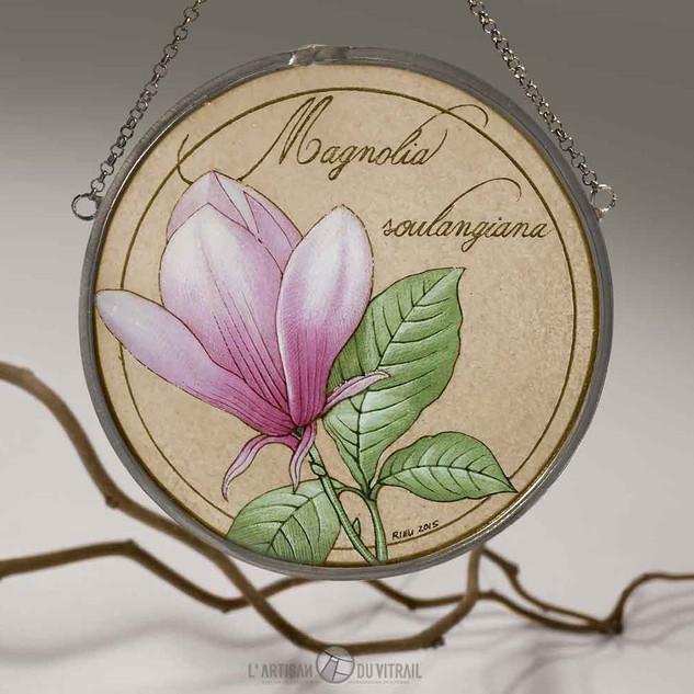 'Le Magnolia' - Vitrail à suspendre, peintures faites mains