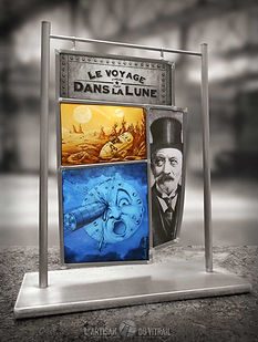 Vitrail de décoration 'Le Voyage dans la Lune' de Méliès