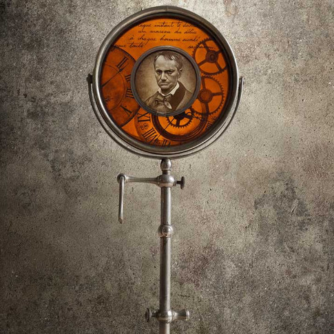 'L'Horloge' - Vitrail de décoration, peintures faites mains