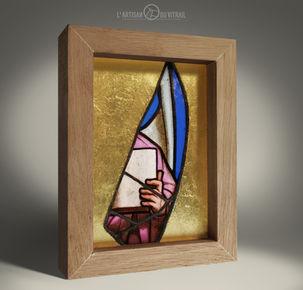 """""""L'Ange"""" - Petit vitrail de décoration.j"""