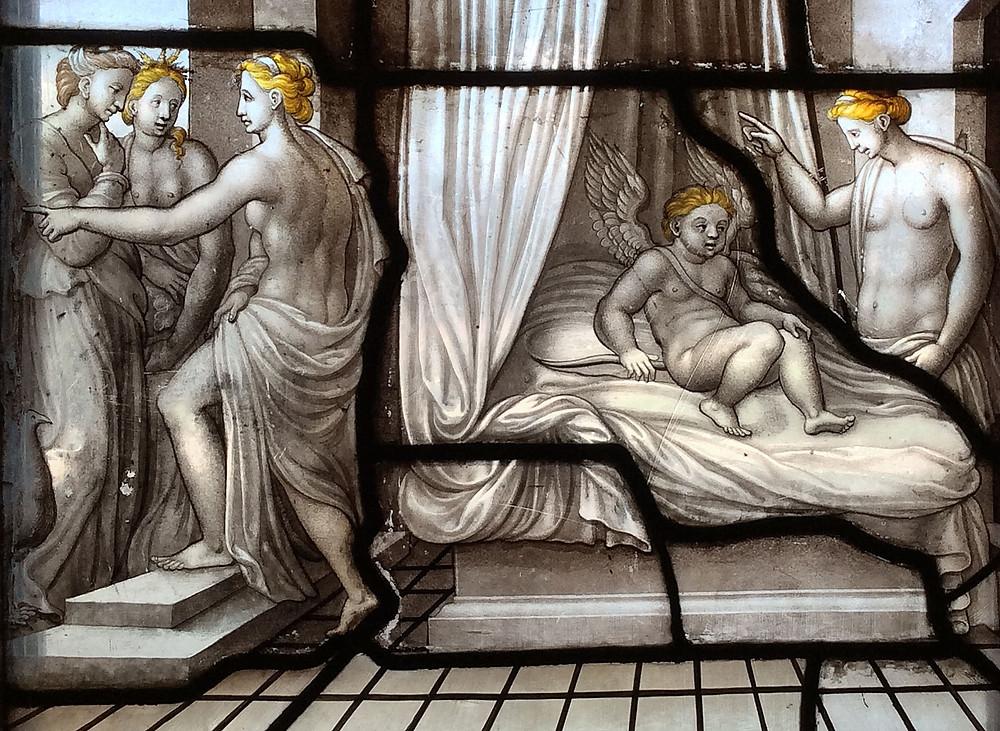 Détail d'un des vitraux de la galerie de Psyché en grisaille et jaune d'argent (1542-1544) - Château de Chantilly