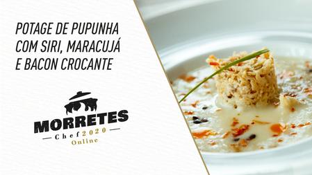 Principal: Potage de Pupunha com Siri, Maracujá e Bacon Crocante, criada pelo Chef Celso Freire