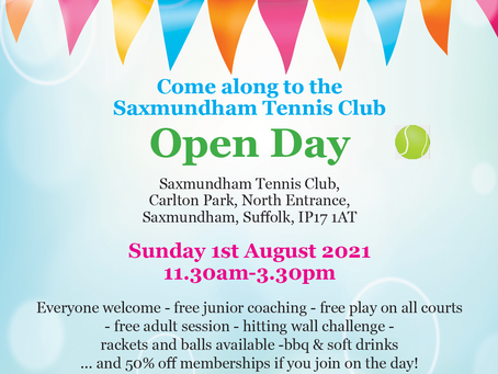 Come along to our Open Day on Sunday 1st August 2021
