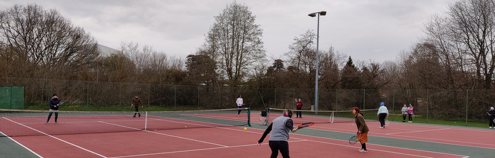 Nicole winding up for a huge forehand during our matchplay at the end of cardio tennis