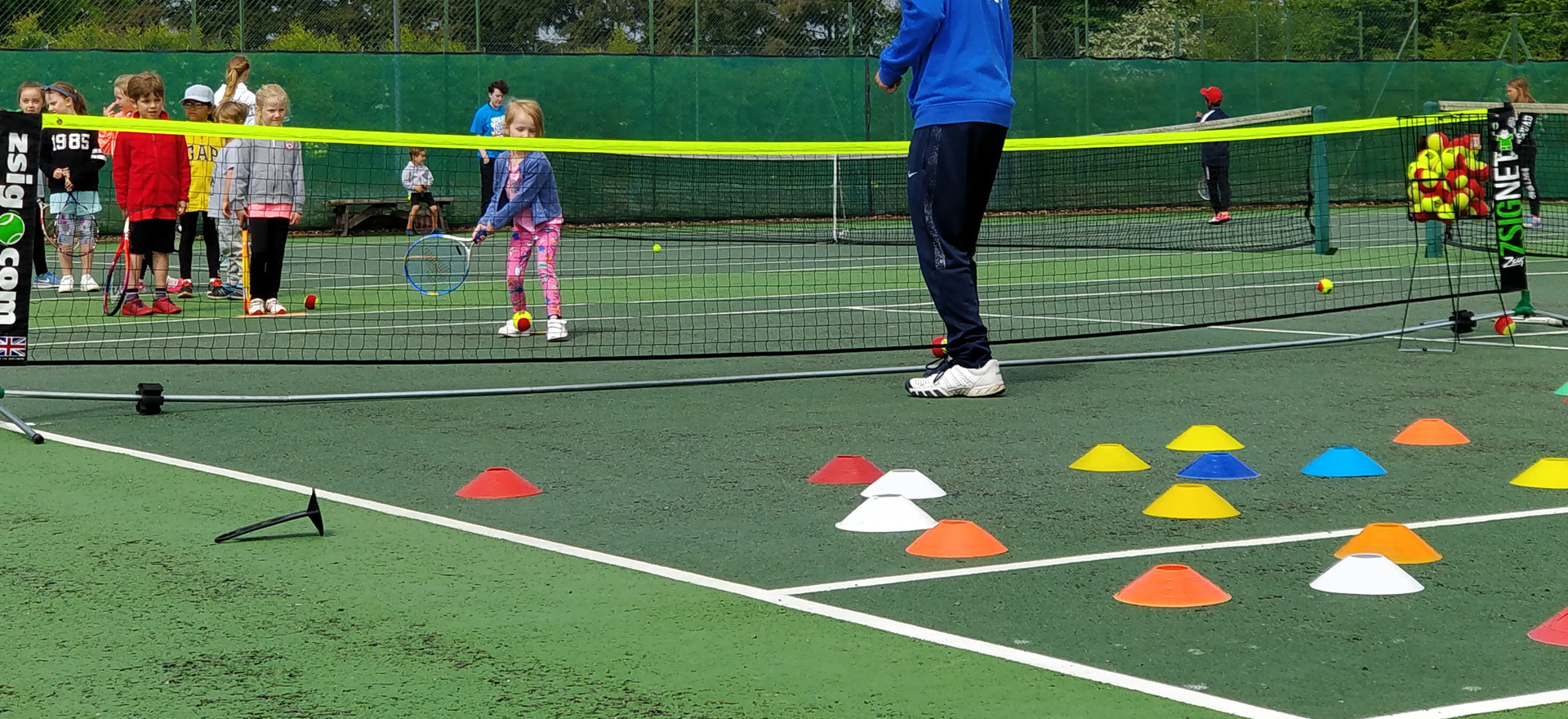 Junior coaching requires some colourful equipment!