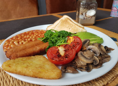 "Full english breakfast ""Big Boy"" for our Vegetarians & Vegans clients now at the Red Velvet"