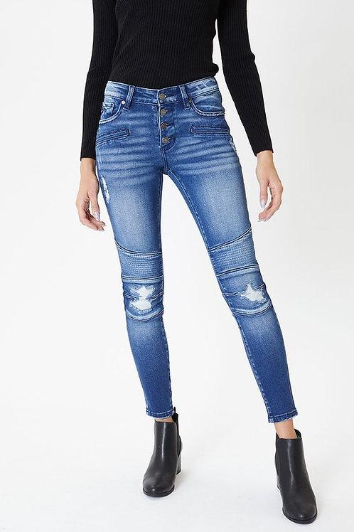 Mid Rise Skinny Moto Jeans