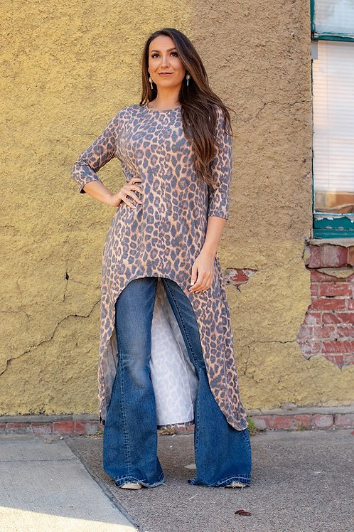 Vintage leopard High Low Tunic