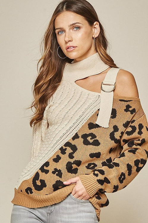 Leopard Sweater with Cutout Shoulder
