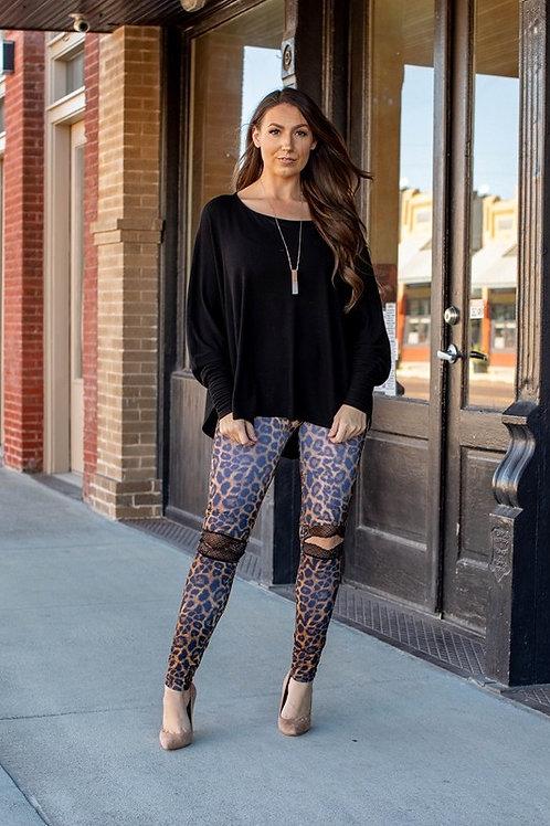Leopard print Liquid Leggings w/Lace Knee Hole