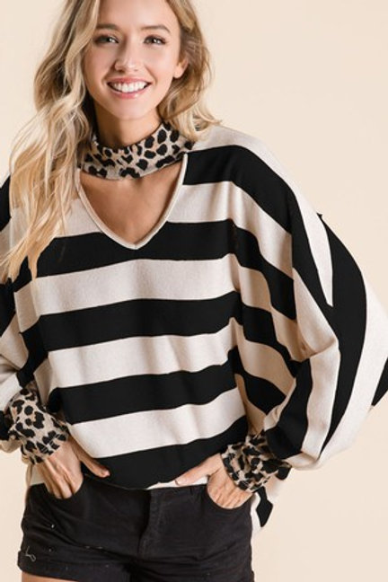 Brushed Stripe Top w/Cut Out Neck