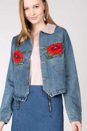 Denim Jacket w/Embroidered Roses