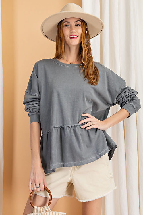Ash Blue Mineral Wash Terry Pullover