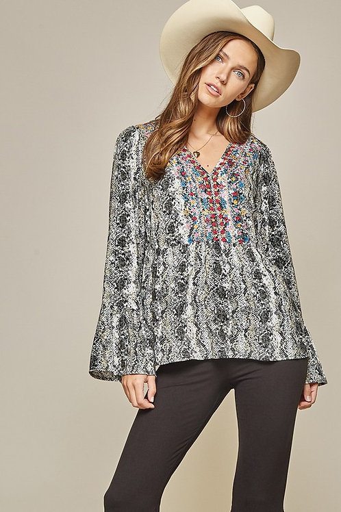 Snakeskin Print Babydoll Top w/Embroidery