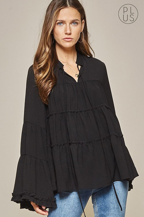 Tiered Body Blouse w/Bell Sleeves