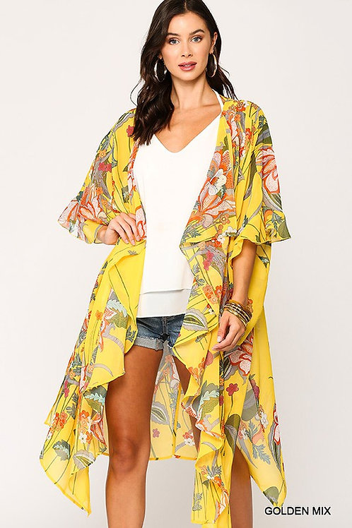 Shawl Collar Kimono w/Ruffle Sleeve Kimono