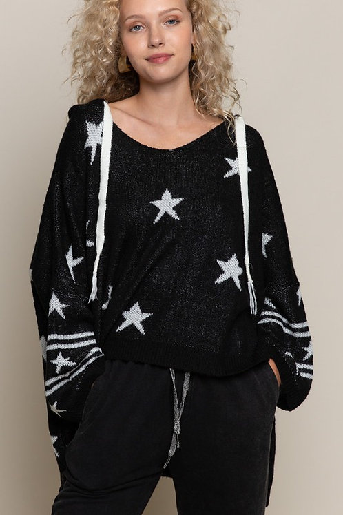 Black/White Star High/Low Sweater w/Hood