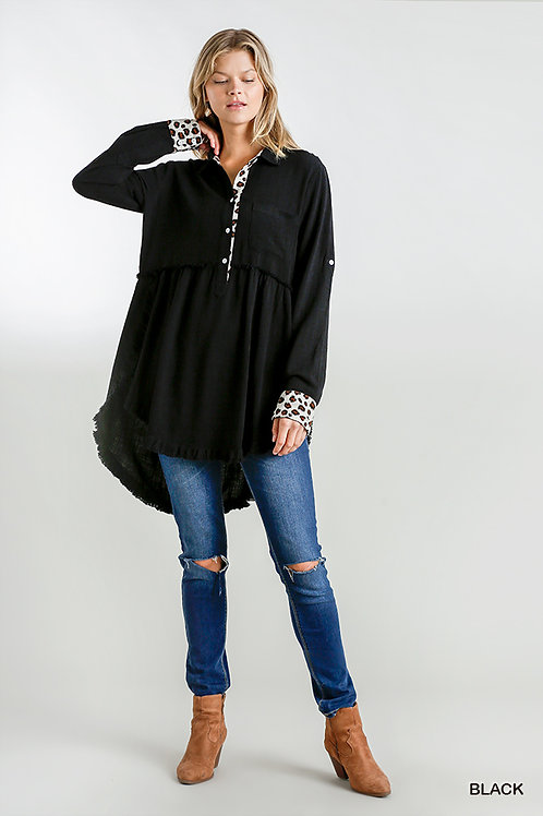 Animal Print Button Front Tunic