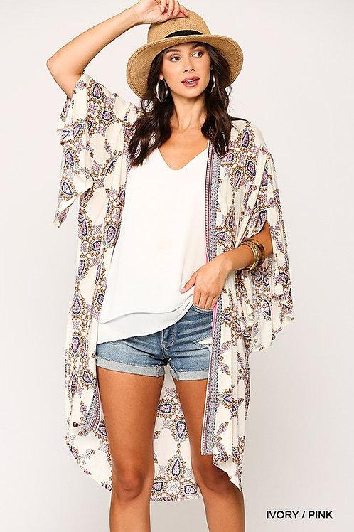Pasley Printed Kimono w/Sleeve Knot Detail