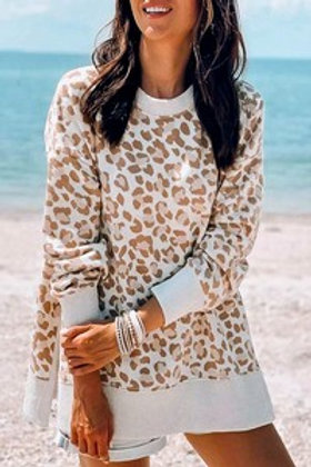 Taupe Combo-Leopard Print Pullover