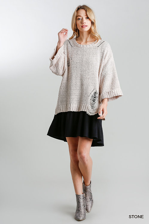 Distressed Sweater w/Wide Folded Sleeves