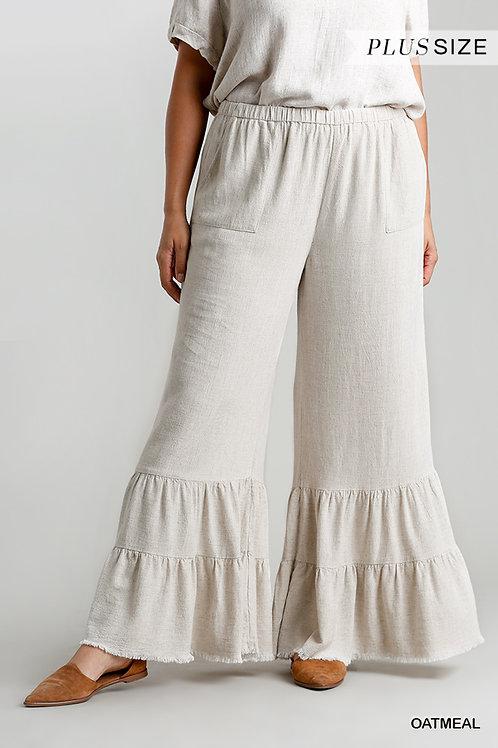 Wide Ruffle Leg Pant w/pockets and Frayed Hem