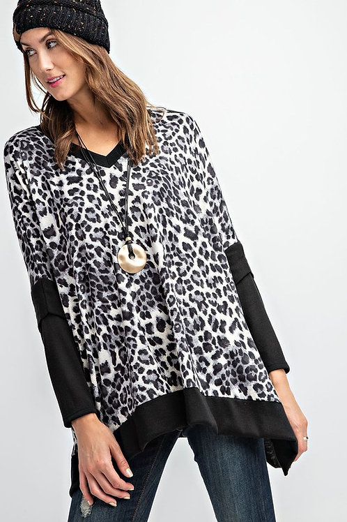Animal Print Brushed Poncho