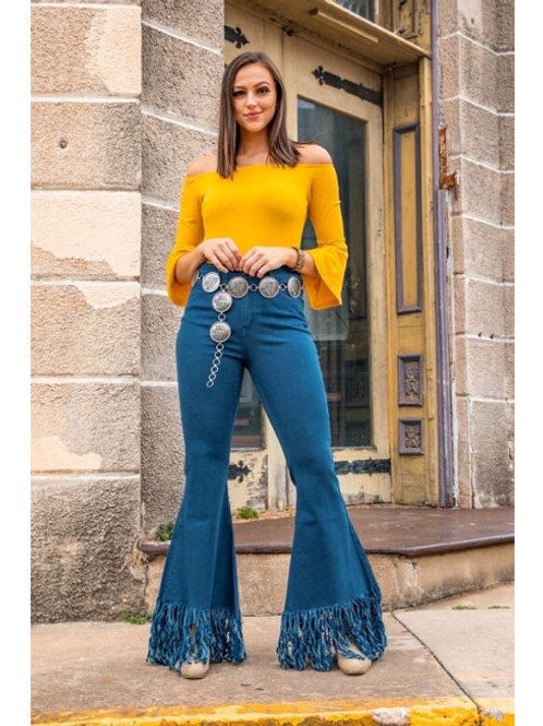 Teal High Rise Flare Frayed Jeans