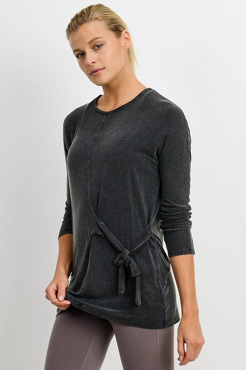 Side Tie Mineral Wash Top