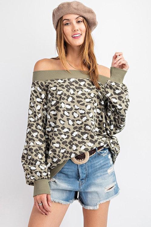 Leopard Print Off the Shoulder Sweatshirt
