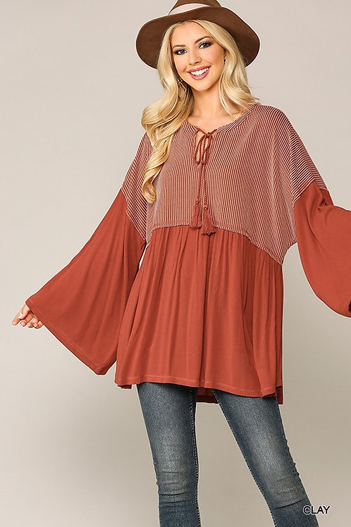 Clay Stripe & Solid Long Bell Sleeve Top