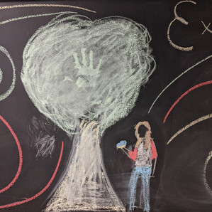 Student chalk art