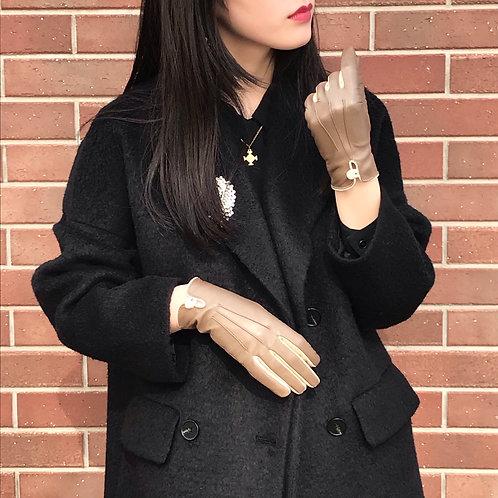 greige leather gloves