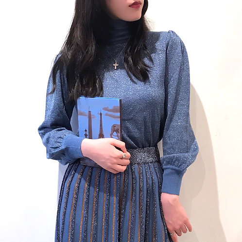 blue  lame knit tops