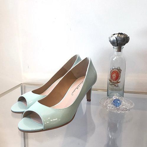 light blue enamel shoes